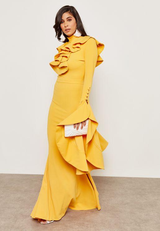 Ruffle Fishtail Dress
