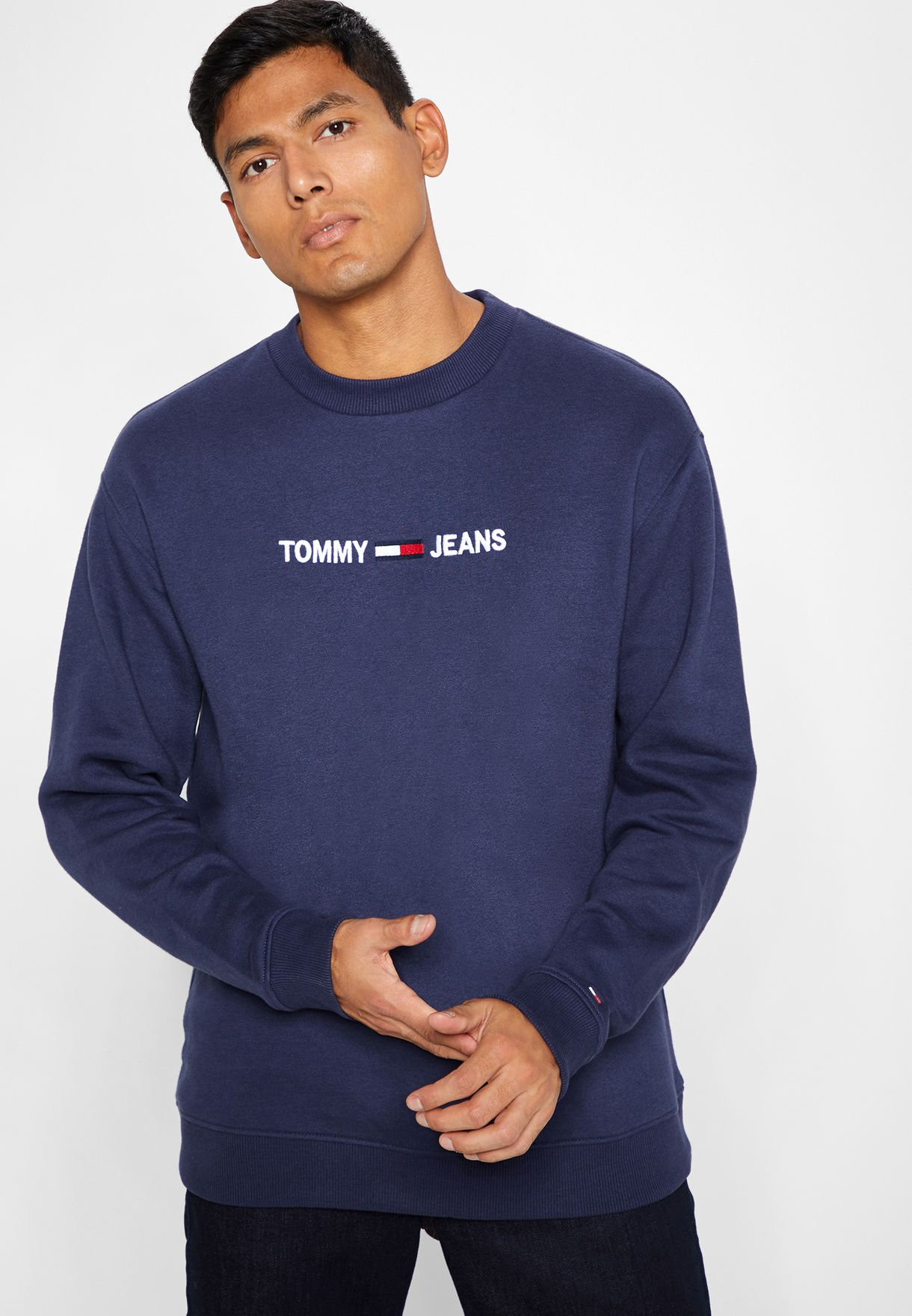 6d5631422eb Shop Tommy Jeans navy Logo Crew Sweatshirt DM0DM05147002 for Men in Kuwait  - TO447AT54FCN