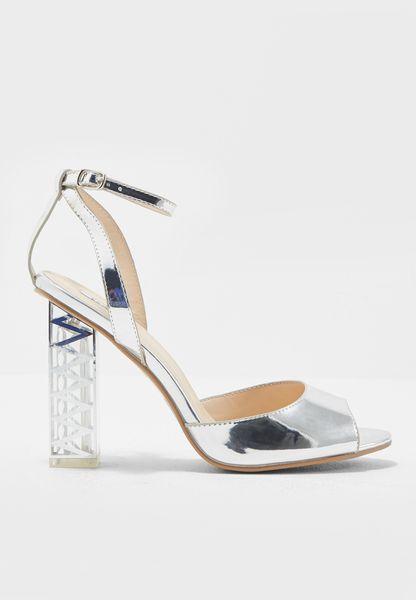 Metallic Silver Sandals With Statement Heel