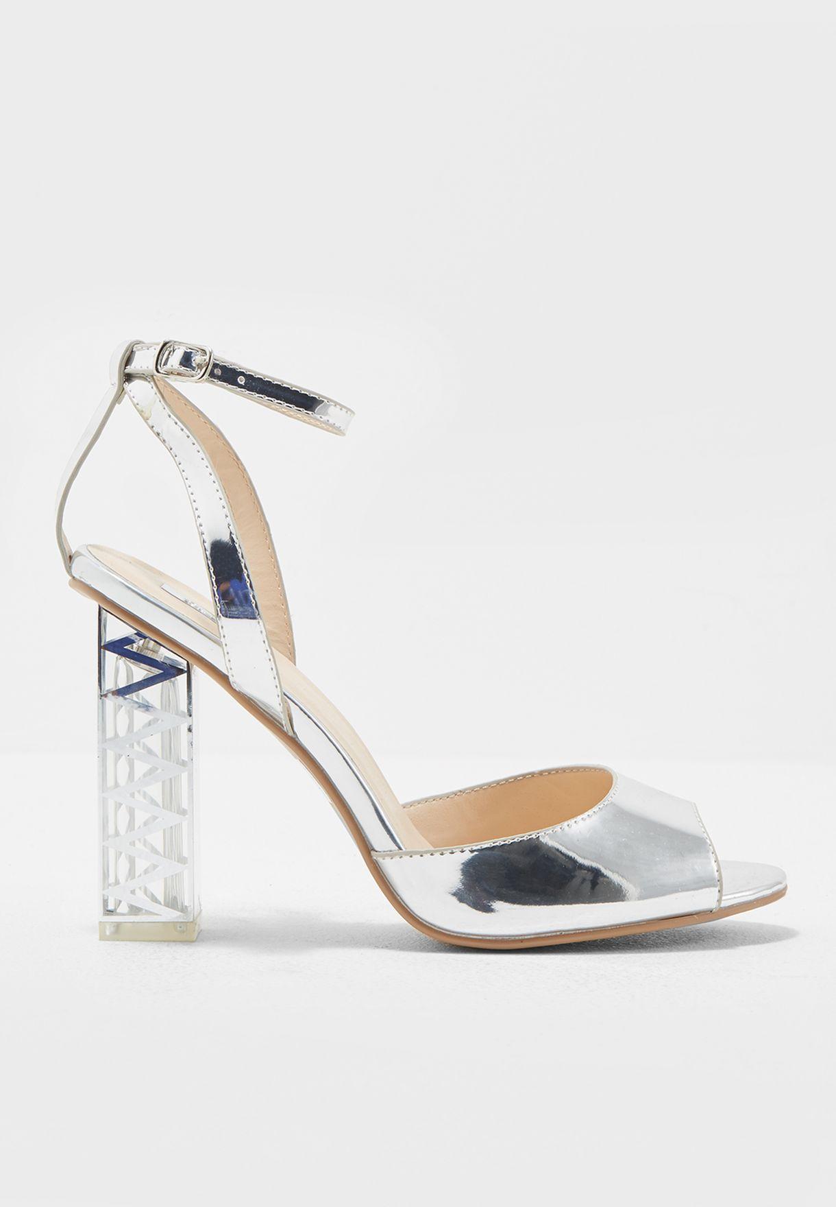 ce44e342968 Shop Qupid silver Metallic Silver Sandals With Statement Heel LUMI ...