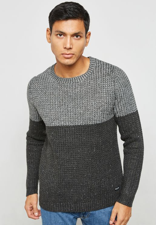 Lazlo  Colour Block Knitted Sweater