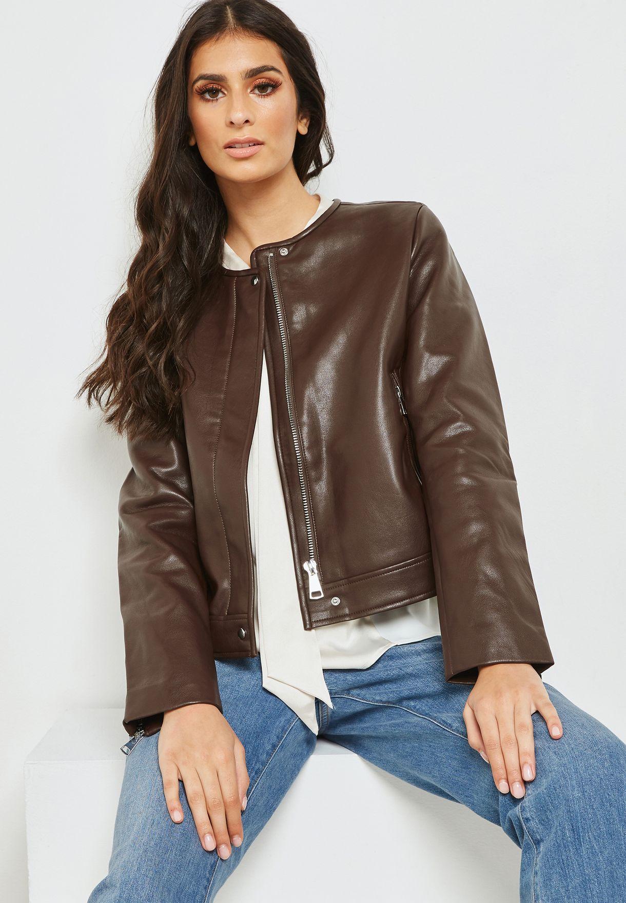 Buy Mango Brown Pu Biker Jacket For Women In Mena Worldwide 33063021