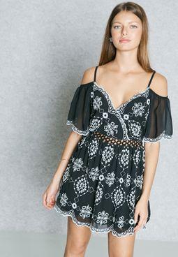 Printed Cold Shoulder Skater Dress