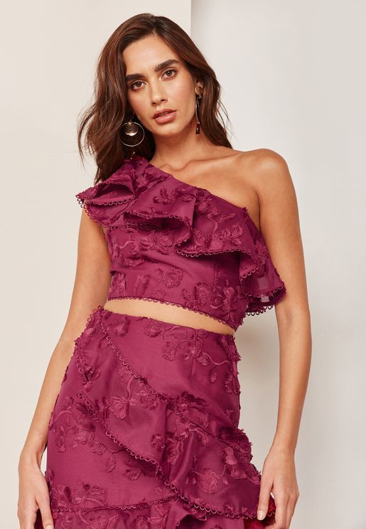 Ruffle Detail One Shoulder Lace Top