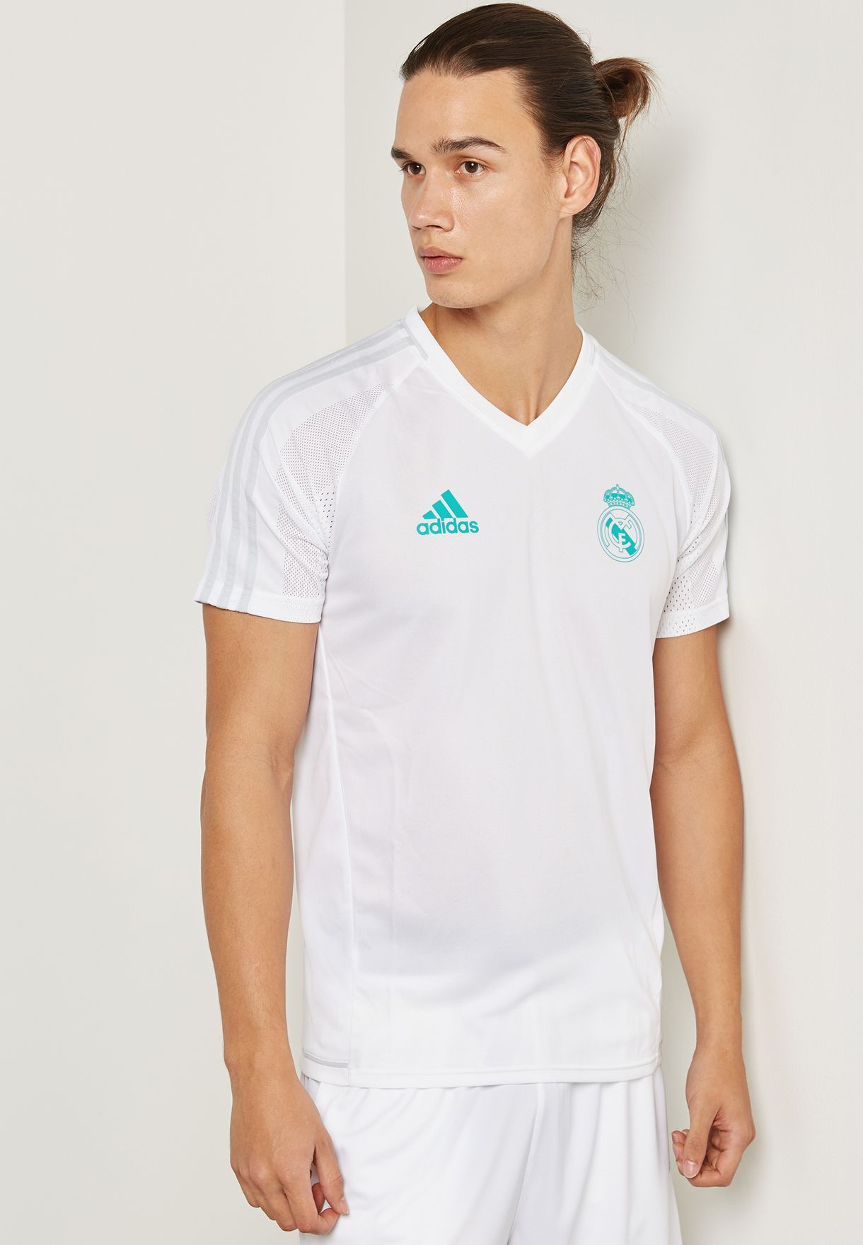ca663d0b8c9 Shop adidas white Real Madrid 17 18 Training Jersey BQ7914 for Men ...