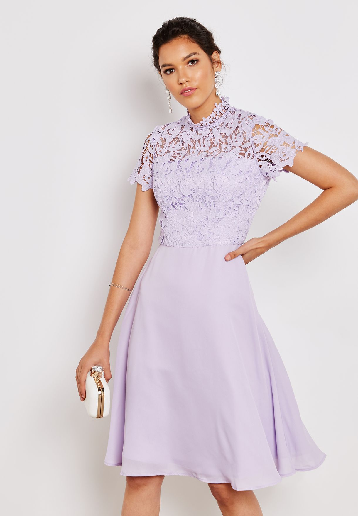 0696dc37ee Shop Chi Chi purple High Neck Lace Detail Dress 52045MILI for Women in  Saudi - CH305AT54JBL