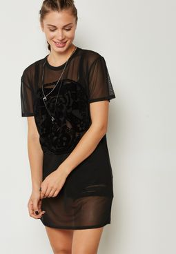 Flock Print Mesh T-shirt Dress