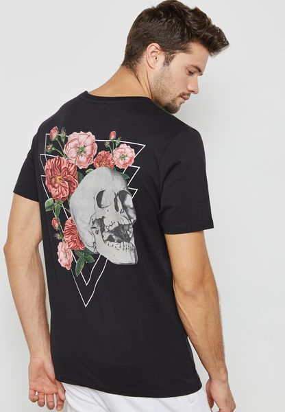 Skull And Rose Print Crew Neck T-Shirt