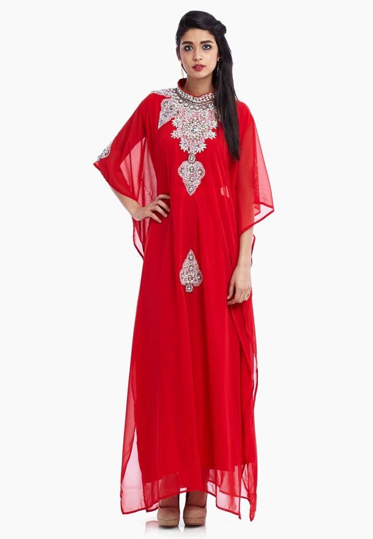 shop hayas closet red embellished jalabiya for women in