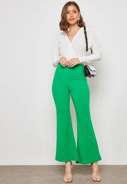 High Waisted Flared Hem Pants