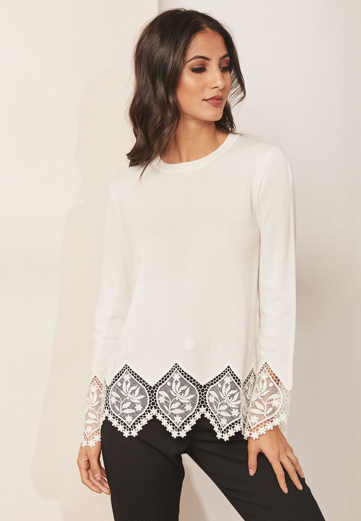 Scallop Lace Detail Sweater