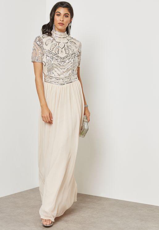 Sequin Embellished High Neck Dress