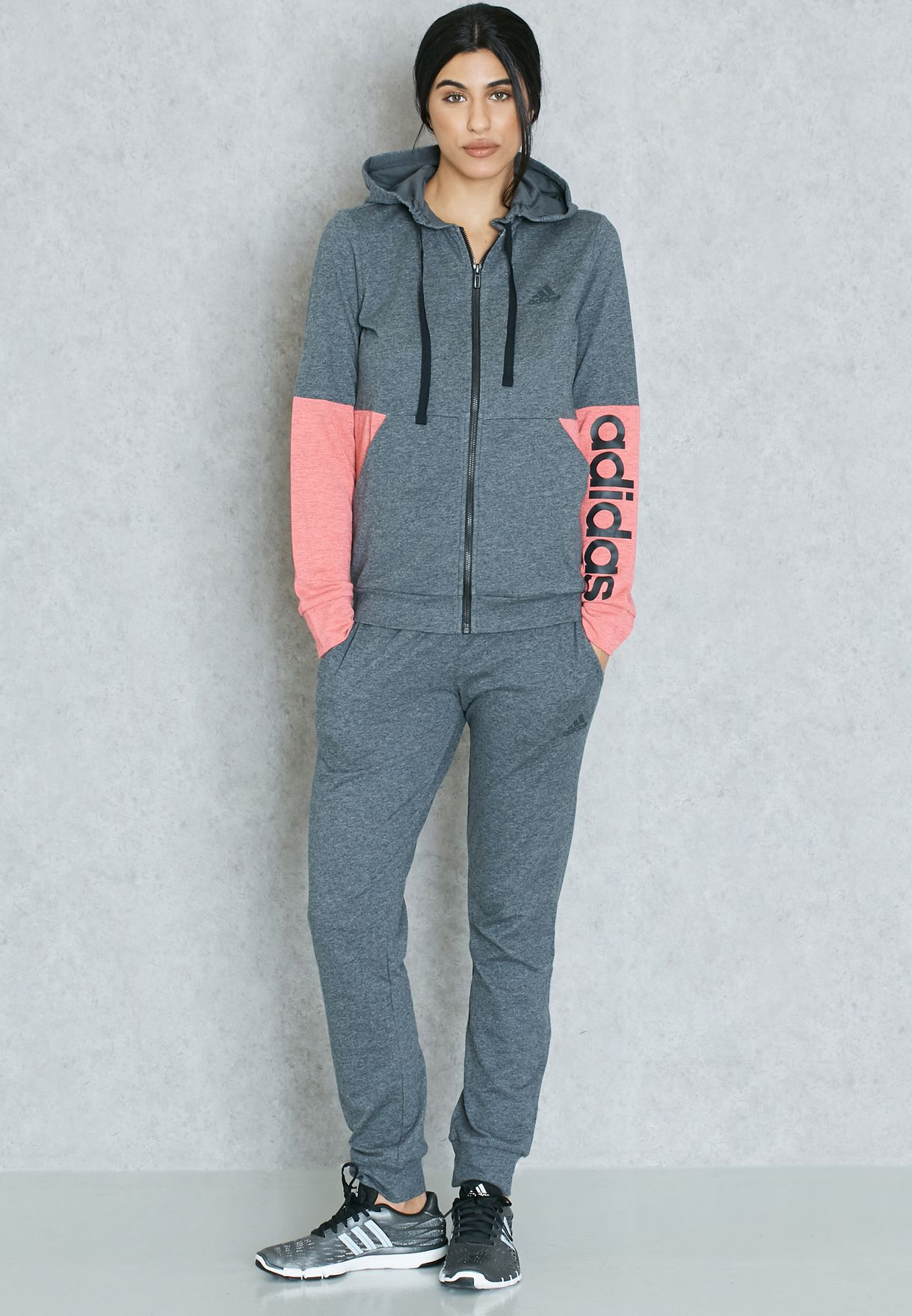 b903f6dddf1 Shop adidas grey Marker Tracksuit BK4684 for Women in Saudi ...