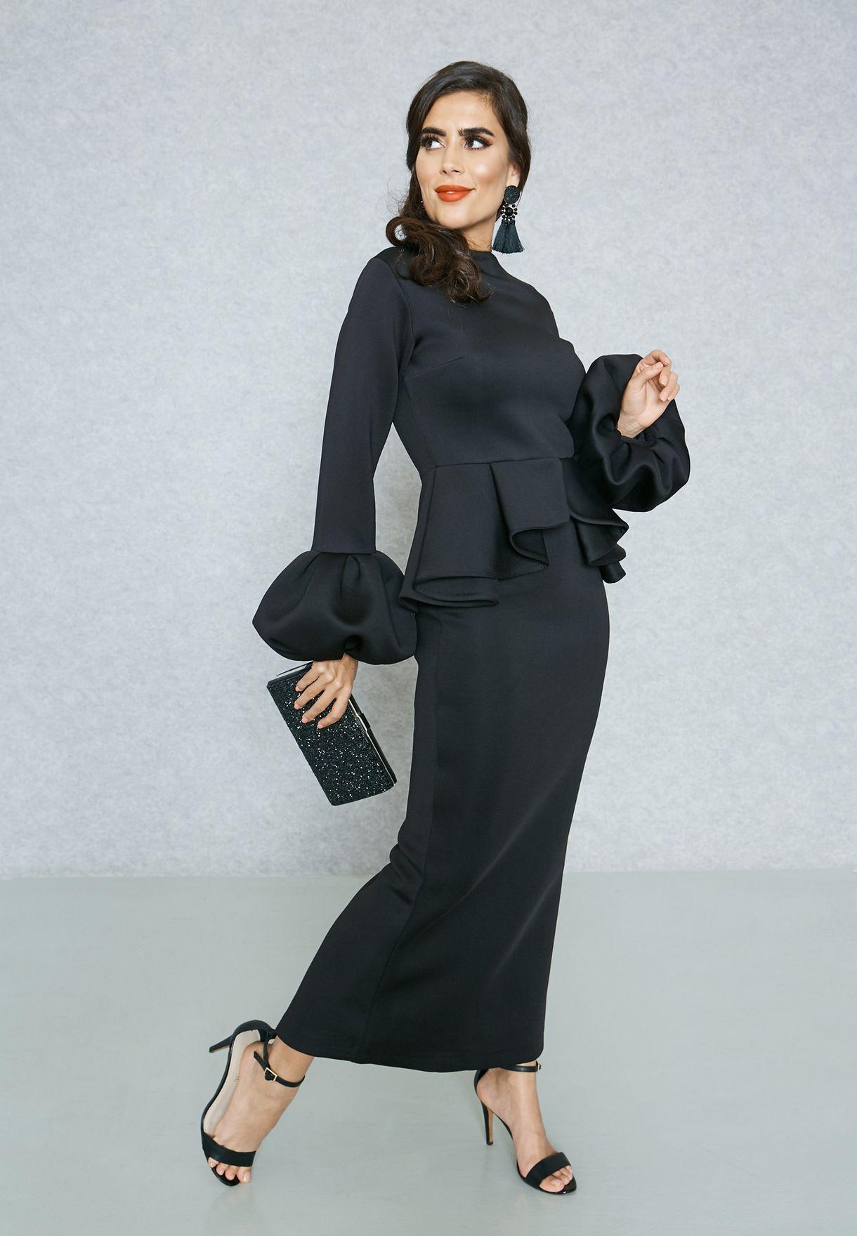 da05b3ce2f248 Shop Threadz black Puffed Sleeve Peplum Bardot Dress AP12 for Women ...