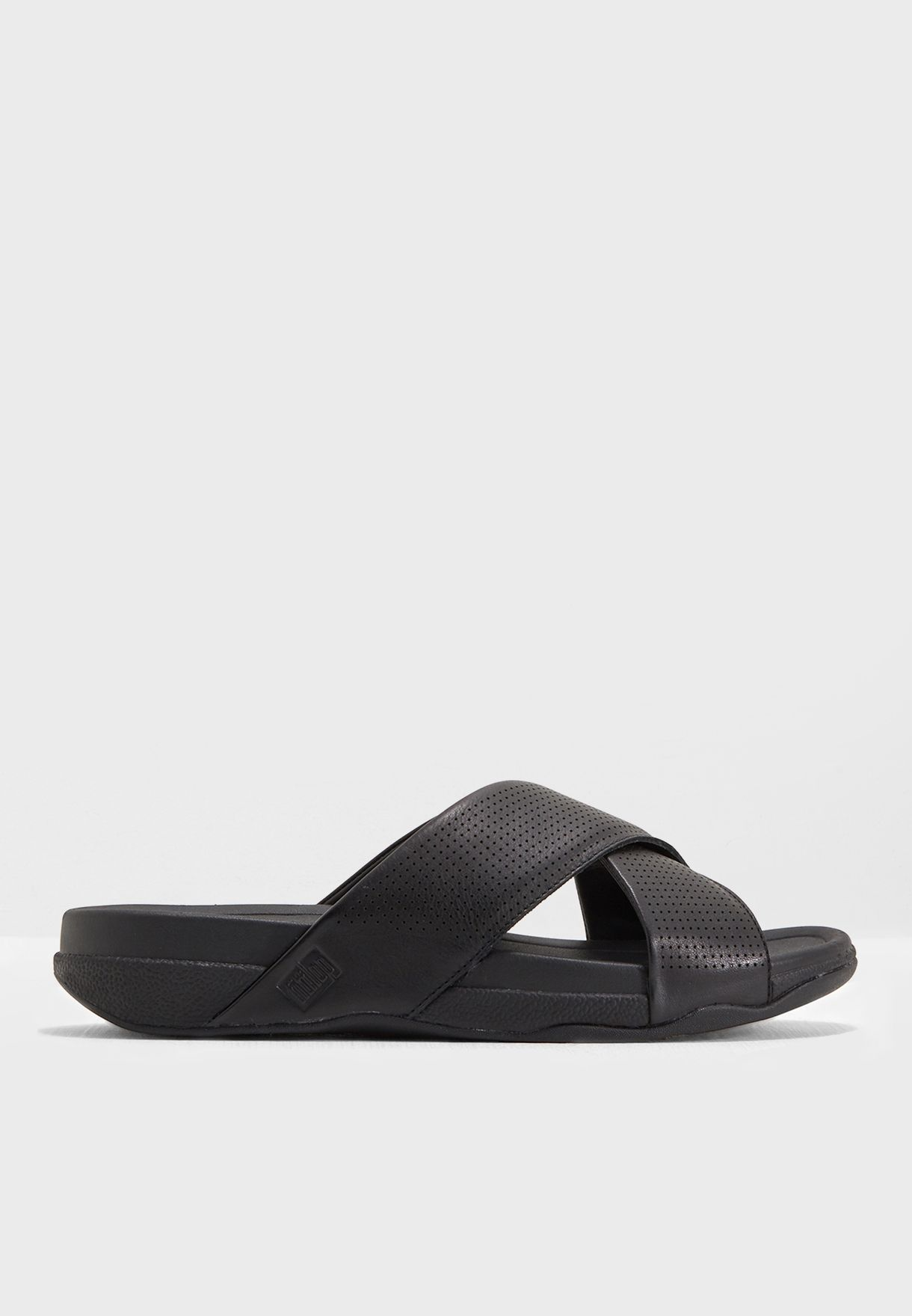 1b116fbfe852 Shop Fitflop black Perforated Leather Slide L58-001 for Men in UAE ...