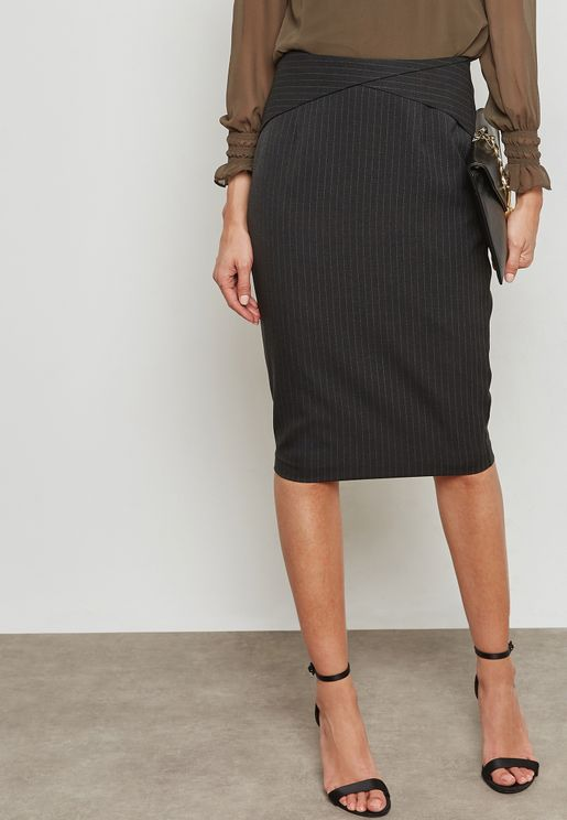 Pinstriped Pencil Skirt