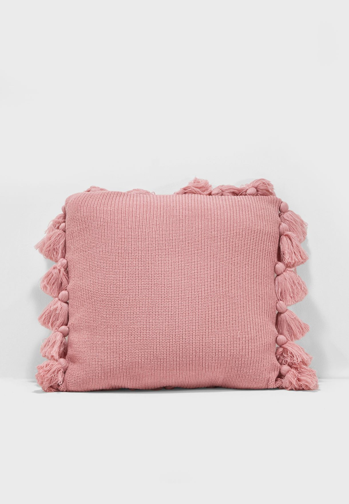 Knitted Tassle Cushion 45x45cm Insert Included