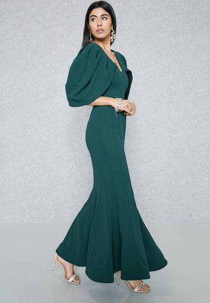 Pleated Cape Dress