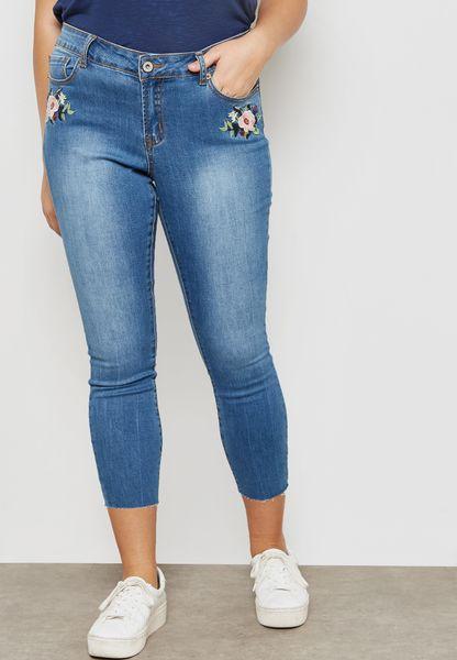 Embroidered Raw Hem Skinny Jeans