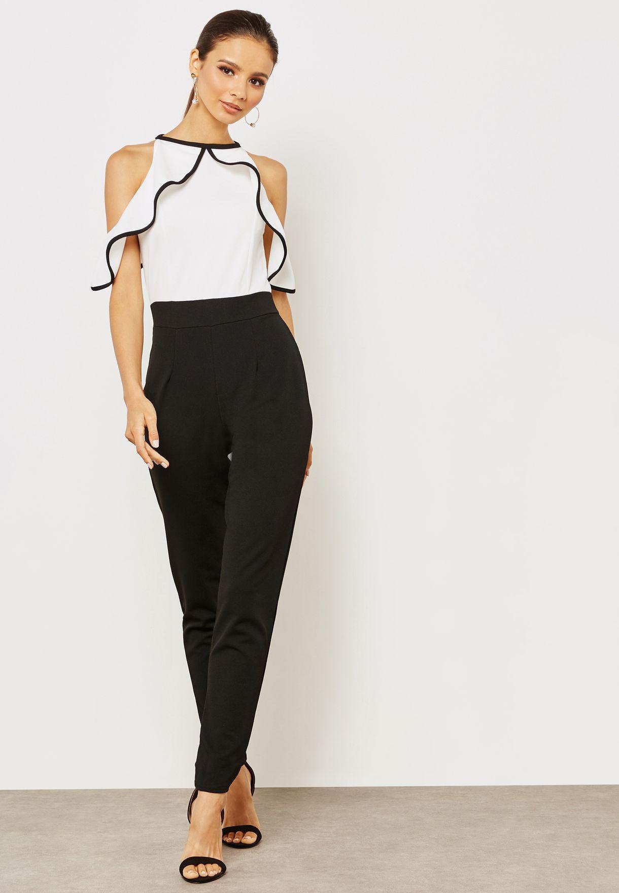 b851e99f9ea Shop Quiz white Contrast Straight Leg Cold Shoulder Jumpsuit ...