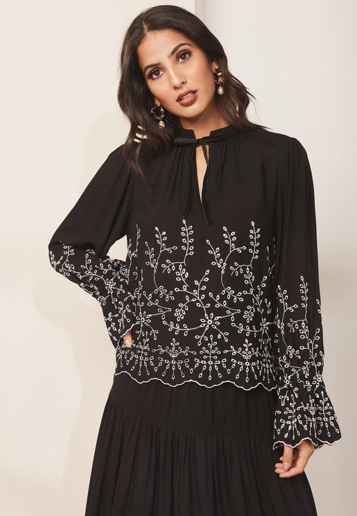 Embroidered Wide Sleeve Tie Neck Top