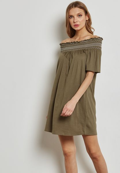 Frill Detail Bardot Dress