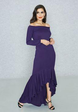 Ruffle High Low Hem Bardot Dress