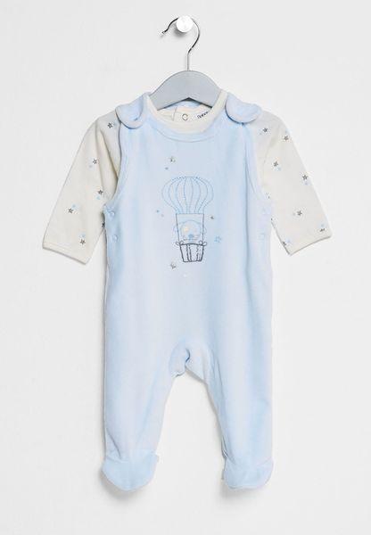 Infant Velour Dungaree Bodysuit
