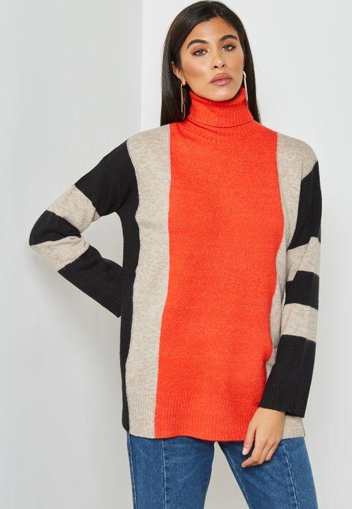 Colourblock High Neck Sweater