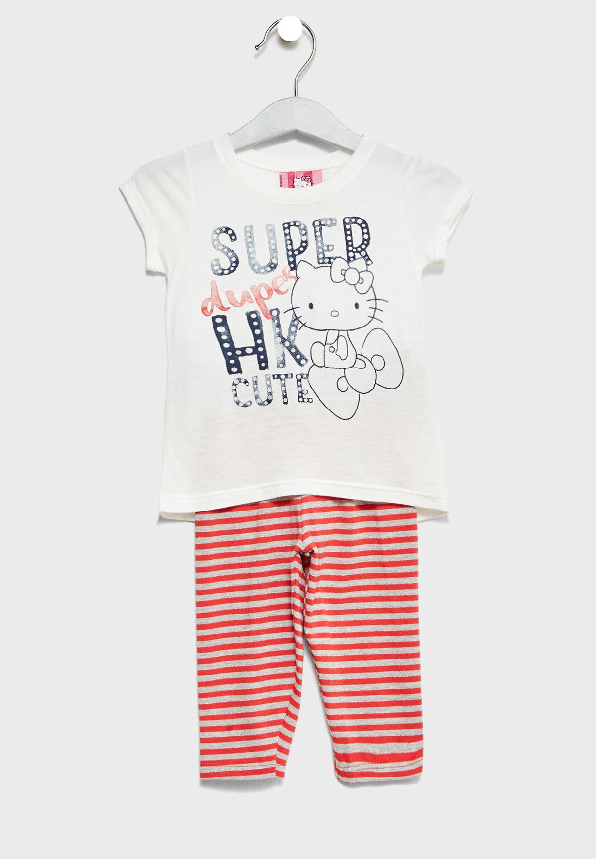 a66cdc167cbe26 Shop Hello Kitty multicolor Little Top + Leggings Set 87728 for Kids ...