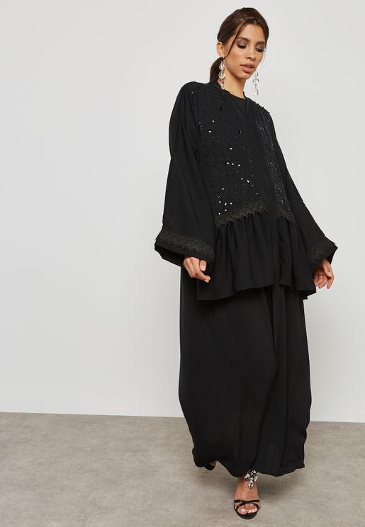 Embellished Ruffle Detail Abaya