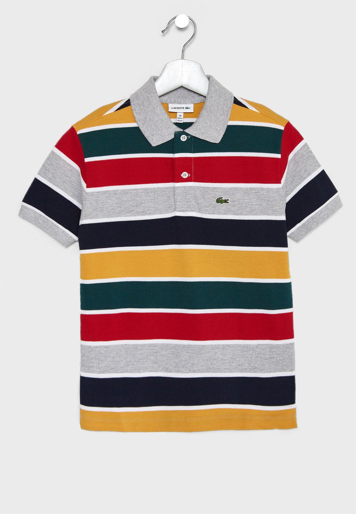 497a18fc4db7 Shop Lacoste multicolor Kids Striped Polo Shirt PJ9881-00-DJF for ...
