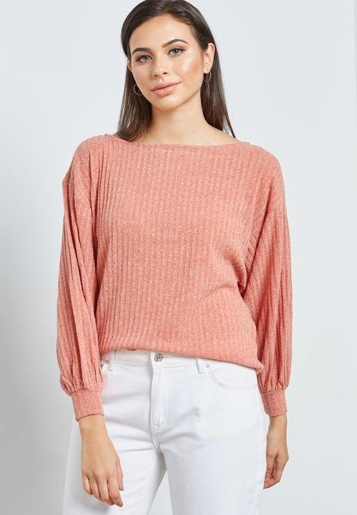 Ribbed Balloon Sleeve Sweater