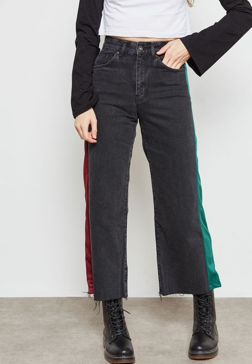 Side Striped Straight Jeans
