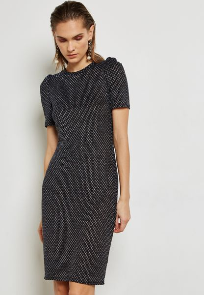 High Neck Shimmer Bodycon Dress