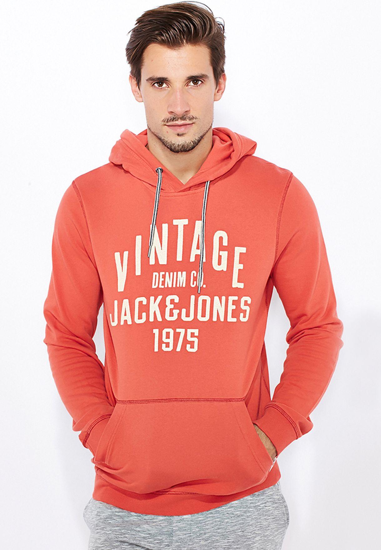 d338593de58 Shop Jack Jones orange Vintage Hoodie for Men in Bahrain - JA872AT44FXV