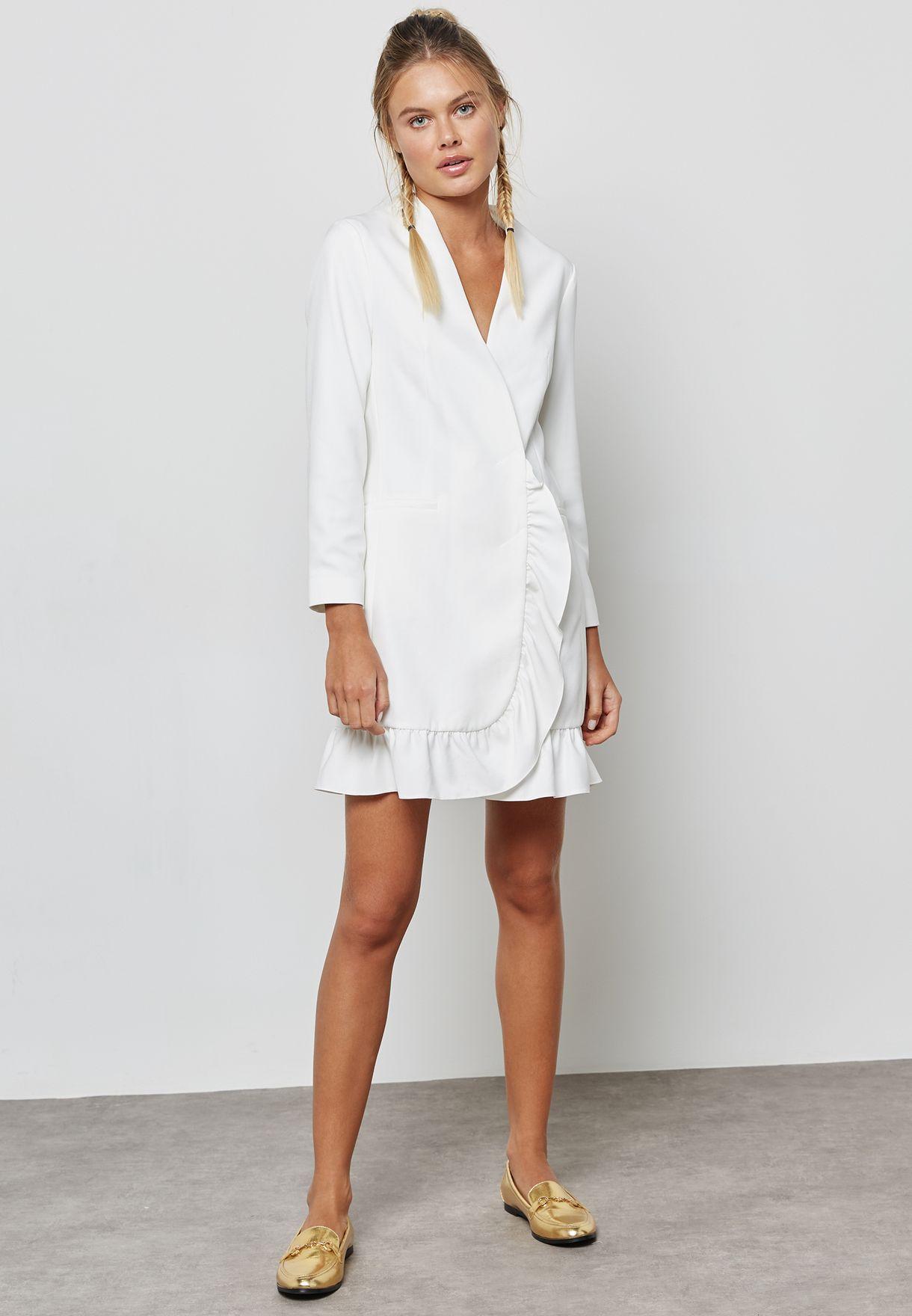 9ac8851131fd Shop Topshop white Ruffle Hem Blazer Dress 17B07MIVR for Women in ...