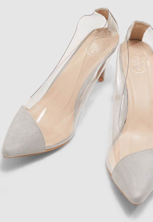 Pointed Toe Court Shoe With Vinyl Detail