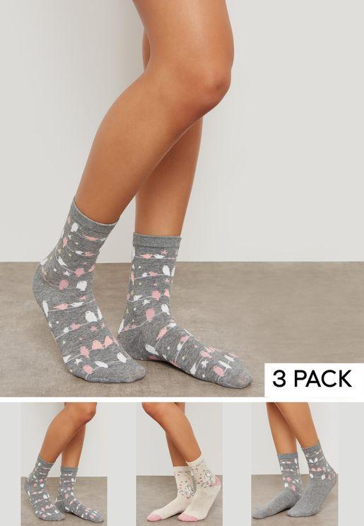 Printed 3 Pack Socks