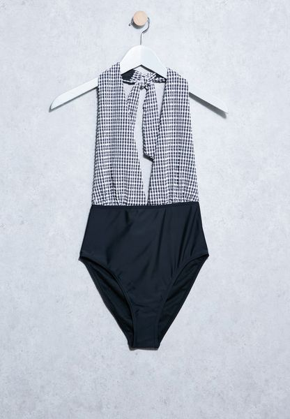 Gingham Plunge Neck Swimsuit