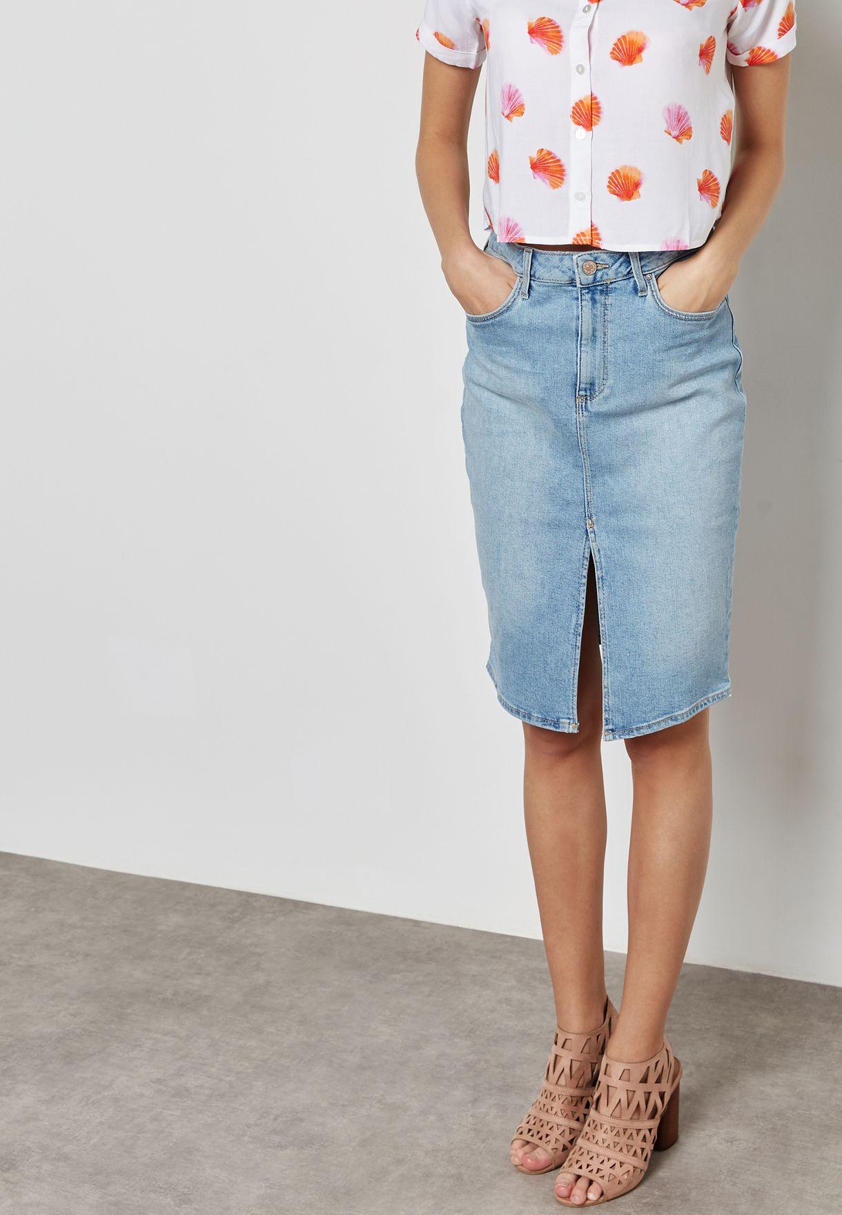 01353619d Shop Forever 21 blue Front Slit Denim Skirt 323026 for Women in ...