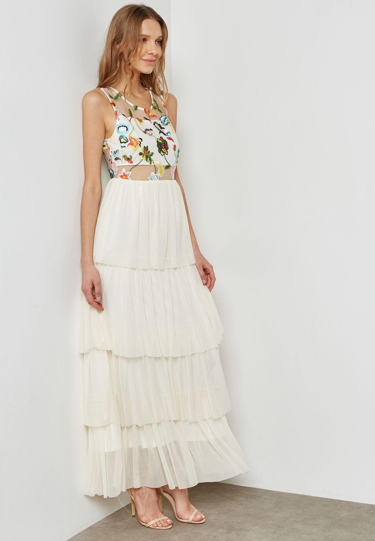 37c27a64a249 Shop Vero Moda white Embroidered Pleated Maxi Dress 10197127 for ...