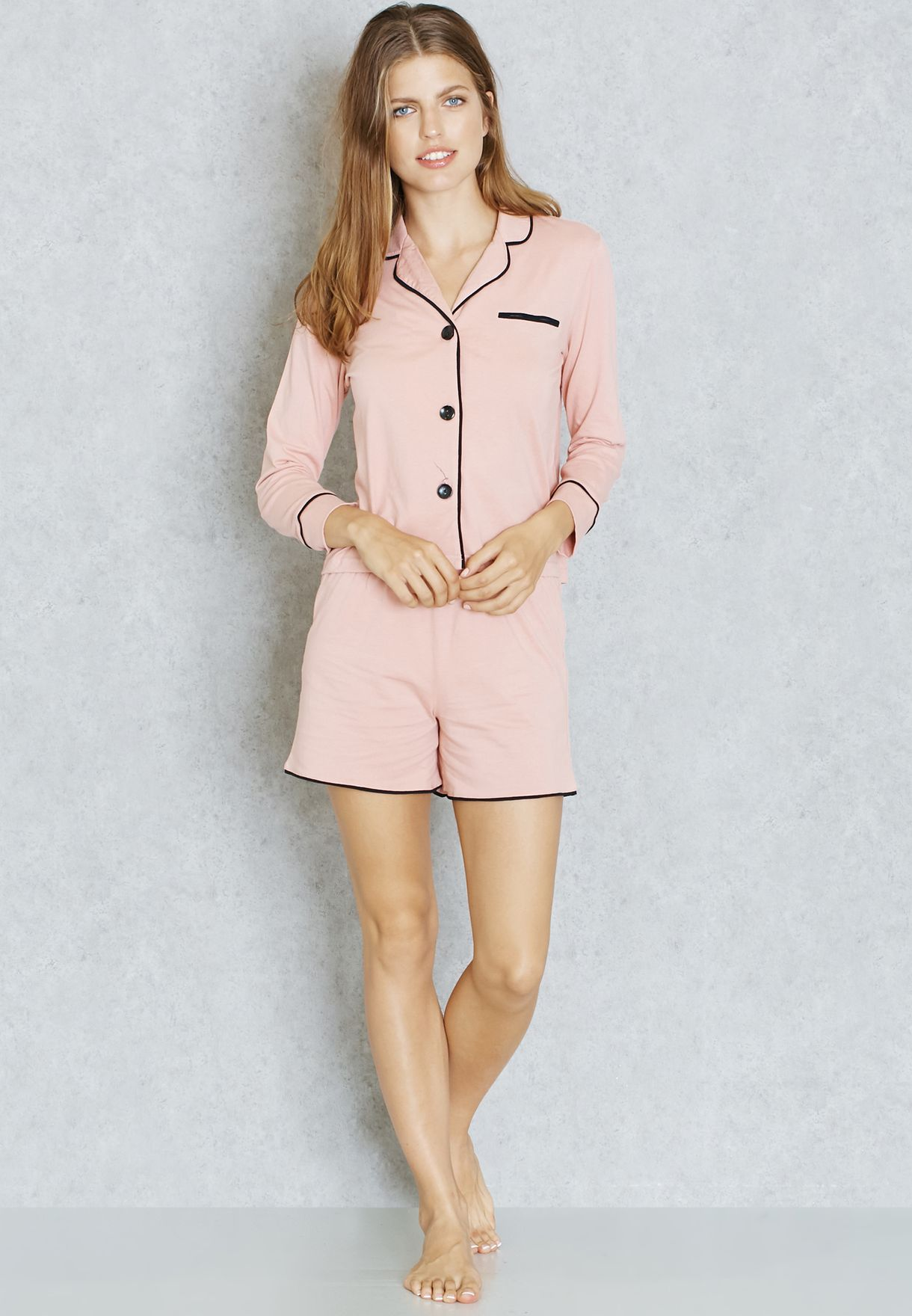 94ea66e410a9 Shop Lounge District pink Contrast Piping Shirt Shorts Pyjama Set ...