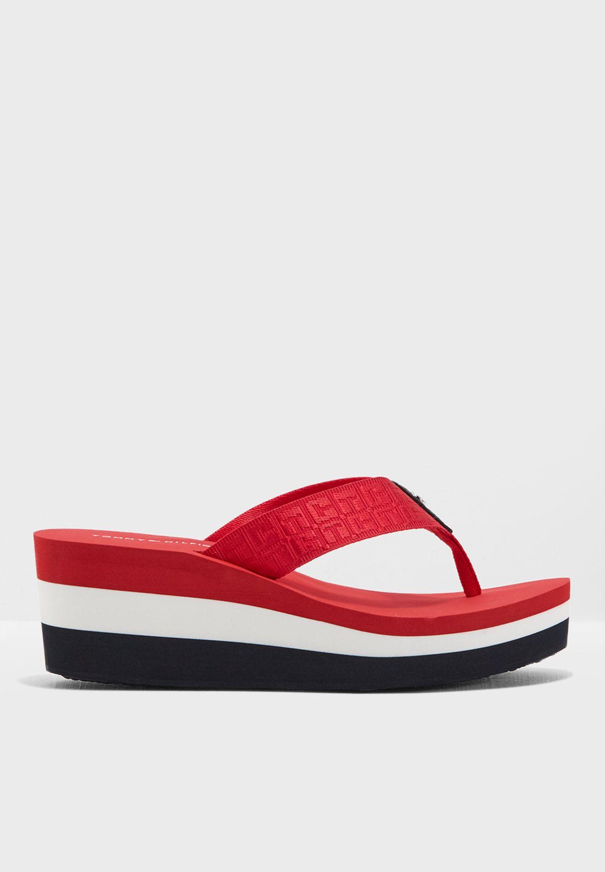 d2c947e21cb57f Shop Tommy Hilfiger red Essential Stripe Sandal FW0FW02383611 for ...