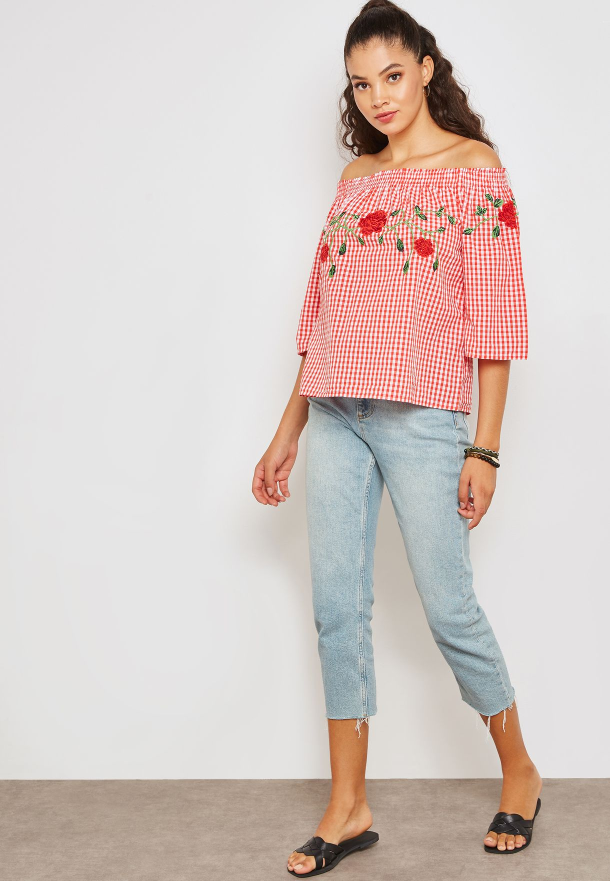 Gingham Embroidered Bardot Top