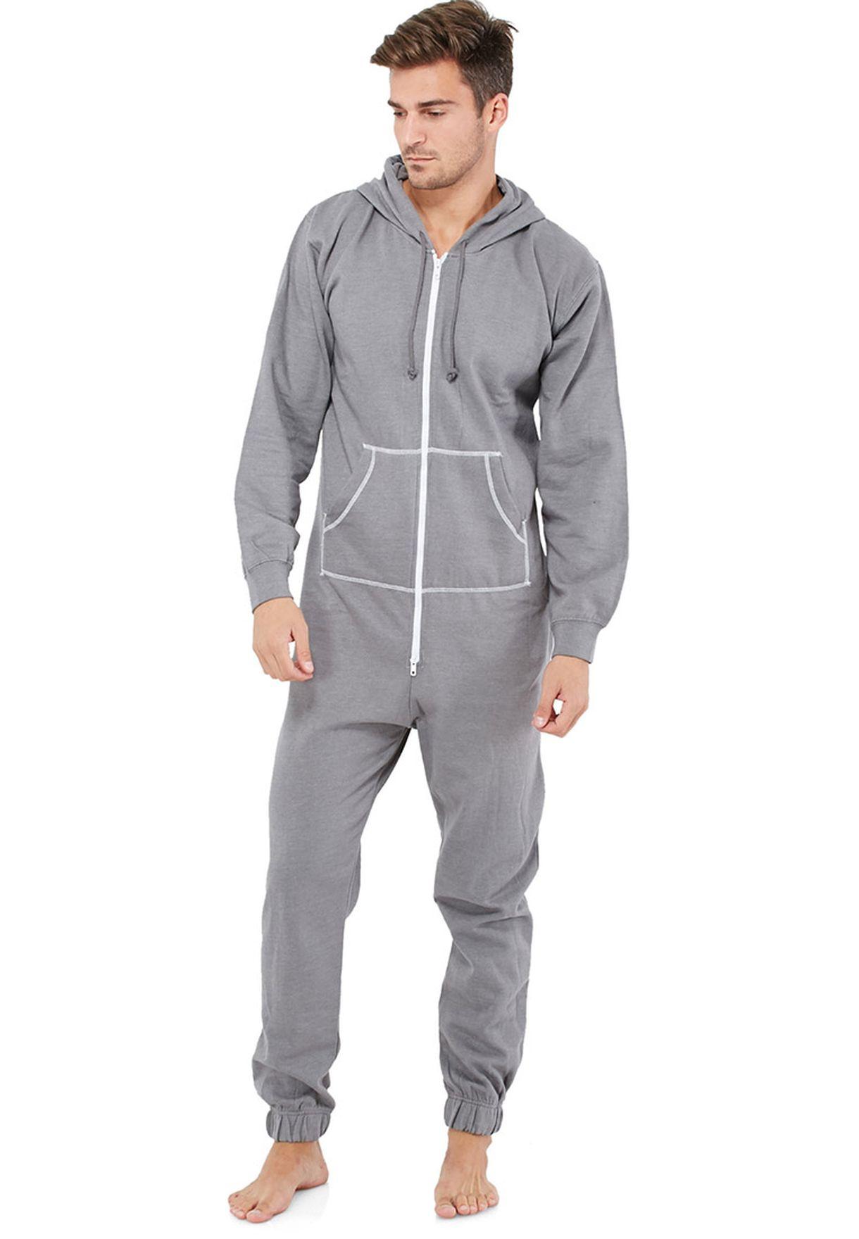 b18fcb74080c Shop Fifteen Minutes grey Brushed Fleece Onesies for Men in Qatar -  FI266AT44CQH