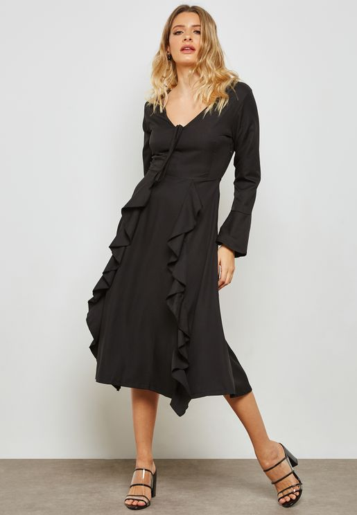 Ruffle Paneled Tie Front Maxi Dress