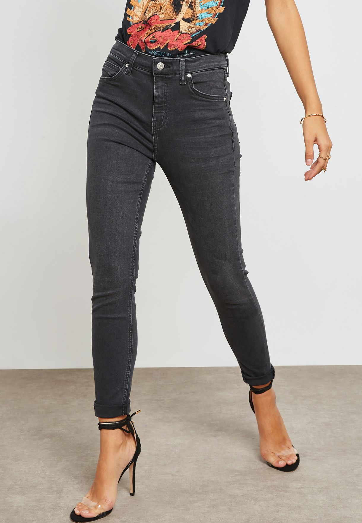14d976b0d1 Shop Topshop black MOTO Jamie High Rise Skinny Jeans 02K04NWBK   02K05NWBK  for Women in UAE - TO856AT44IZZ