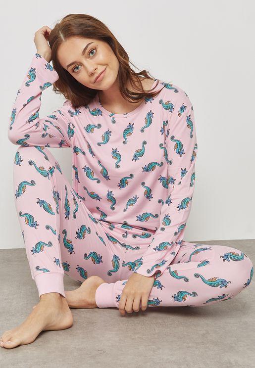Sea Horse Printed Pyjama Set