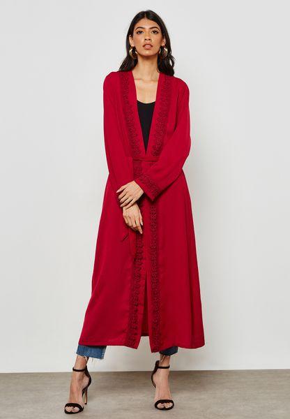 Lace Trim Longline Kimono